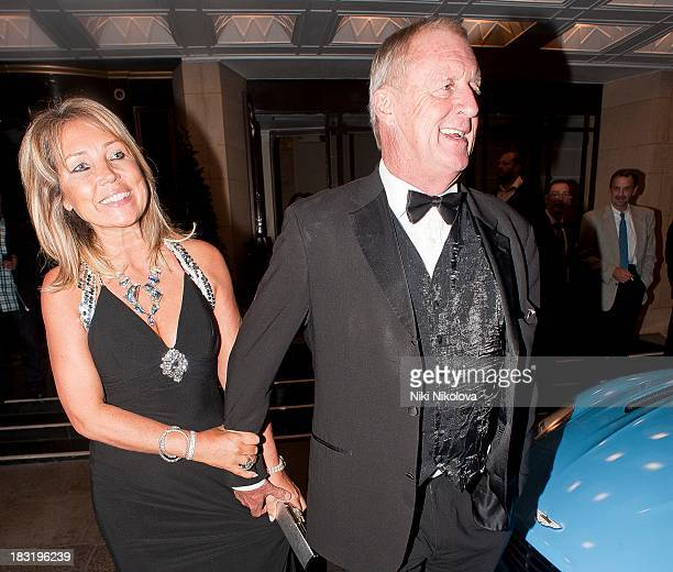 Jane Bird and Chris Tarrant sighted leaving the Dorchester Hotel Park Lane on October 5 2013 in London England