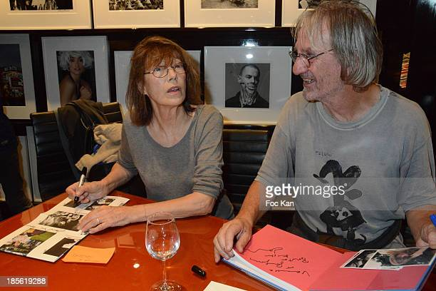 Jane Birkin and Andrew Birkin attend the 'Jane Et Serge A Family Album' Book Signing At Taschen Odeon on October 22 2013 in Paris France