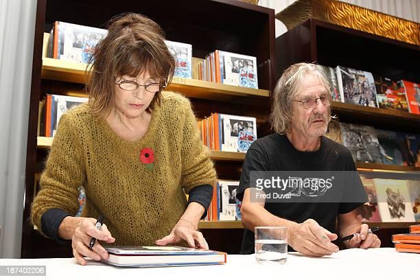 Jane Birkin and Andrew Birkin signs copies of new book 'Jane Serge' at Taschen Store on November 8 2013 in London England