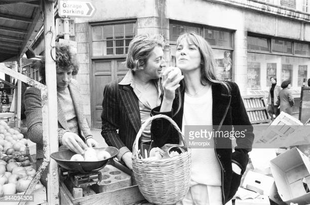 Jane Birkin and husband Serge Gainsbourg, pictured shopping in Berwick Street market, London, April 1977, The couple are in the UK for the opening of...