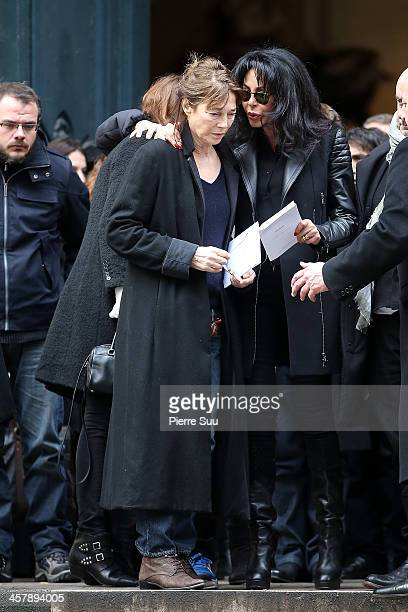 Jane Birkin and Yamina Benguigui francophony minister attend the Tribute To Kate Barry At Eglise Saint Roch on December 19 2013 in Paris France