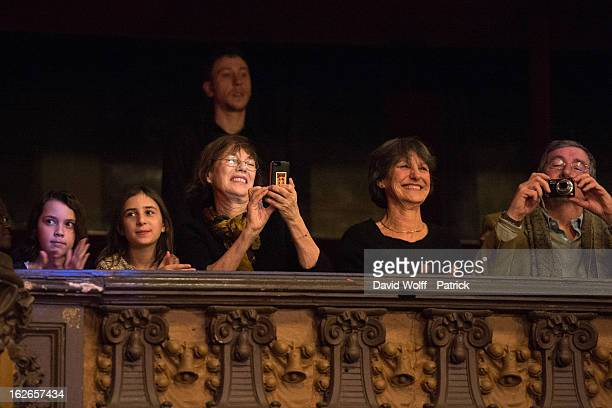 Jane Birkin attends daughter Lou Doillon's concert at Le Trianon on February 25 2013 in Paris France