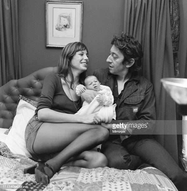 Jane Birkin English actress with baby daughter Charlotte Lucy Gainsbourg aged 23 days old pictured together at her London flat Cheyne Row Chelsea...
