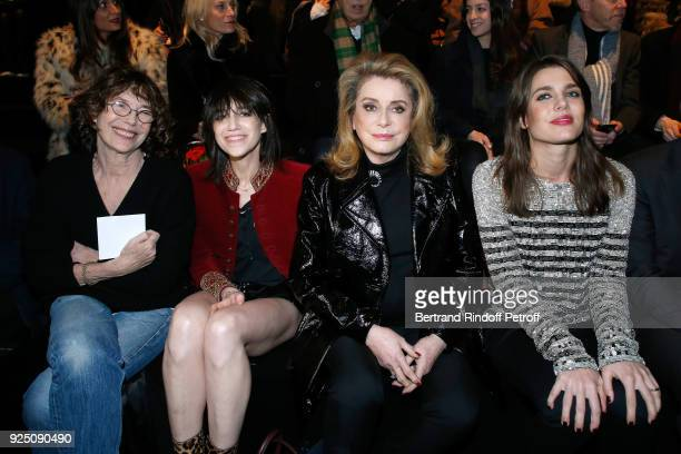Jane Birkin her daughter Charlotte Gainsbourg Catherine Deneuve and Charlotte Casiraghi attend the Saint Laurent show as part of the Paris Fashion...