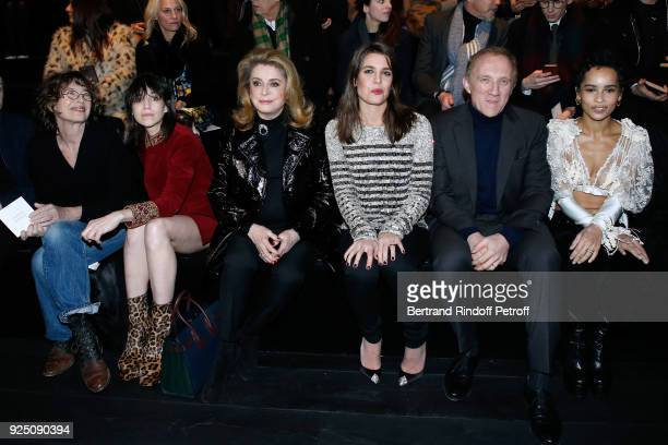 Jane Birkin her daughter Charlotte Gainsbourg Catherine Deneuve Charlotte Casiraghi CEO of Kering Group FrancoisHenri Pinault and Zoe Kravitz attend...
