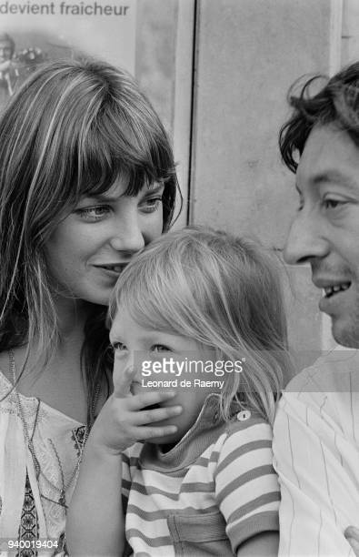 Jane Birkin her daughter Kate whom she had with composer John Barry and her partner singer and songwriter Serge Gainsbourg 26th August 1970