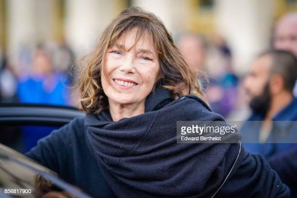 Jane Birkin outside Hermes during Paris Fashion Week Womenswear Spring/Summer 2018 on October 2 2017 in Paris France
