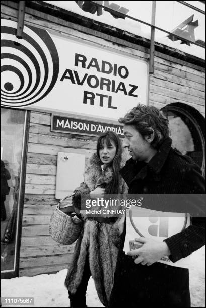 Jane Birkin, Serge Gainsbourg at the Avoriaz film festival in Avoriaz , France on January 16th, 1976.