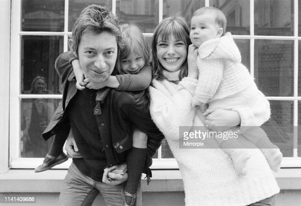Jane Birkin Serge Gainsbourg with family Kate Barry and Charlotte Lucy Gainsbourg pictured together at home in Paris France Sunday 7th May 1972