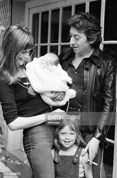 Jane Birkin & Serge Gainsbourg, with their new baby daughter, Charlotte Lucy Gainsbourg aged 5 weeks old, also Jane's daughter Kate Barry by first...