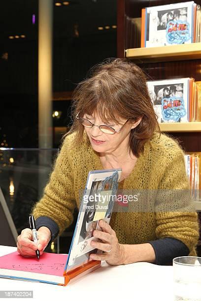 Jane Birkin sign copies of new book 'Jane Serge' at Taschen Store on November 8 2013 in London England