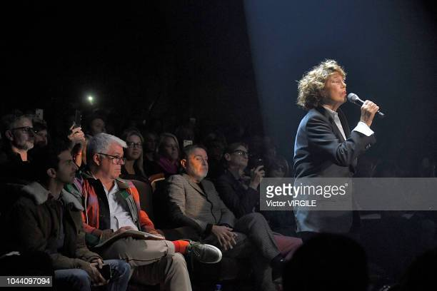 Jane Birkin sings at the Gucci Ready to Wear fashion show during Paris Fashion Week Spring/Summer 2019 on September 24 2018 in Paris France