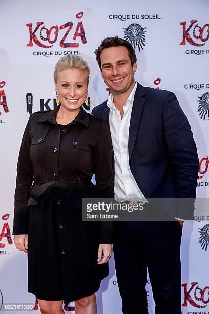 Jane Bunn and Sean Sowerby at the Cirque Du Soleil KOOZA Melbourne Premiere at Flemington Racecourse on January 20 2017 in Melbourne Australia
