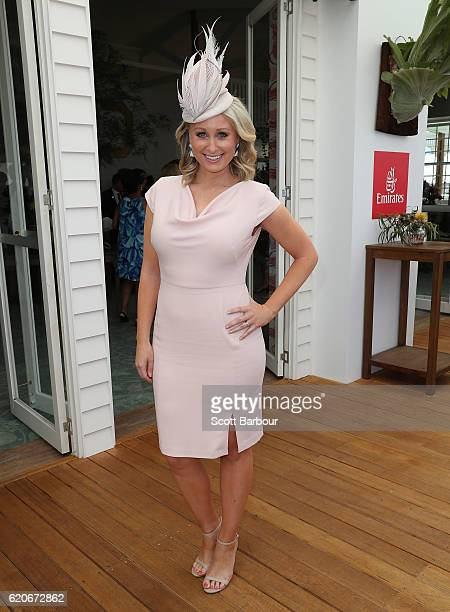 Jane Bunn poses at the Emirates Marquee on Oaks Day at Flemington Racecourse on November 3 2016 in Melbourne Australia