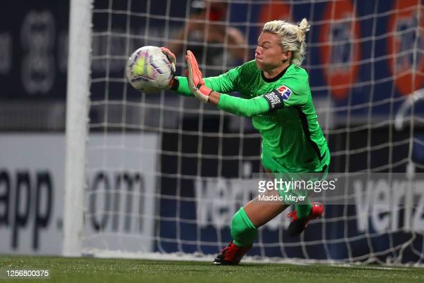 Jane Campbell of Houston Dash blocks a penalty kick to defeat the Utah Royals FC in the quarterfinal match of the NWSL Challenge Cup at Zions Bank...