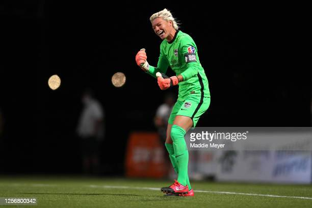 Jane Campbell of Houston Dash celebrates after blocking a penalty kick to defeat the Utah Royals FC in the quarterfinal match of the NWSL Challenge...