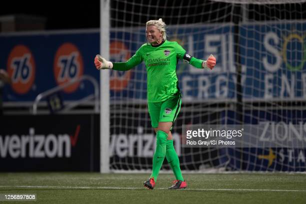 Jane Campbell of Houston Dash reacts to blocking a penalty kick during a game between Utah Royals FC and Houston Dash at Zions Bank Stadium on July...