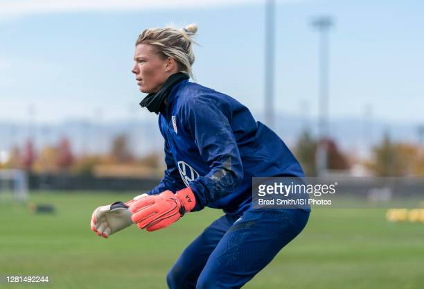 Jane Campbell of the USWNT waits for the ball during a training session at Dick's Sporting Goods Park training fields on October 20 2020 in Commerce...