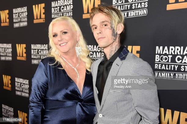 Jane Carter and Aaron Carter attend WE tv Celebrates the 100th Episode of the Marriage Boot Camp reality stars franchise and the premiere of Marriage...