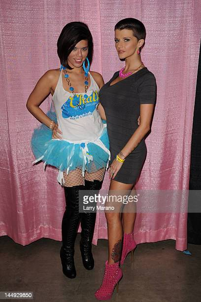 Jane Castro and Joslyn James attend Exxxotica Miami Beach at the Miami Beach Convention Center on May 20 2012 in Miami Beach Florida