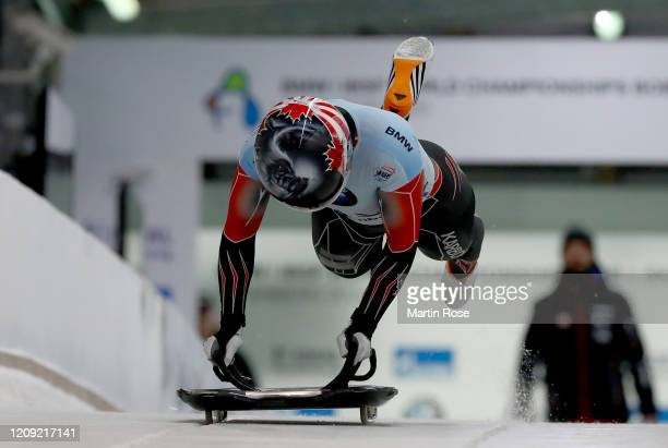 Jane Channell of Canada in action during the first heat for the Women's Skeleton on day eight of the BMW IBSF World Championships Altenberg 2020 on...