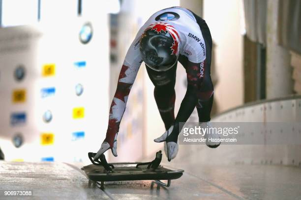 Jane Channell of Canada of competes at Deutsche Post Eisarena Koenigssee during the BMW IBSF World Cup Skeleton on January 19 2018 in Koenigssee...