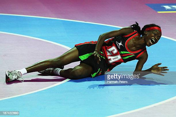 Jane Chimaliro of Malawi celebrates after winning the match between Malawai and England on day two of the Fast5 Netball World Series at Vector Arena...