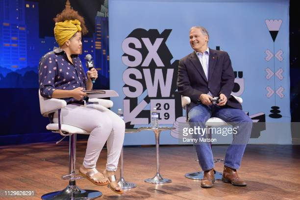 Jane Coaston and Jay Inslee speak onstage at Conversations About America's Future Governor Jay Inslee during the 2019 SXSW Conference and Festivals...