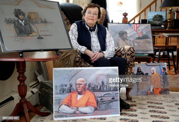 Jane Collins poses for a portrait at her home in Duxbury MA on March 22 2018 Collins is a longtime courtroom artist and has covered trials including...