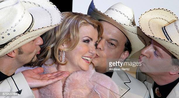 Jane Comerford receives kisses from her band mates. The country band Texas Lightning with singer Jane Comerford won the German elimination round for...