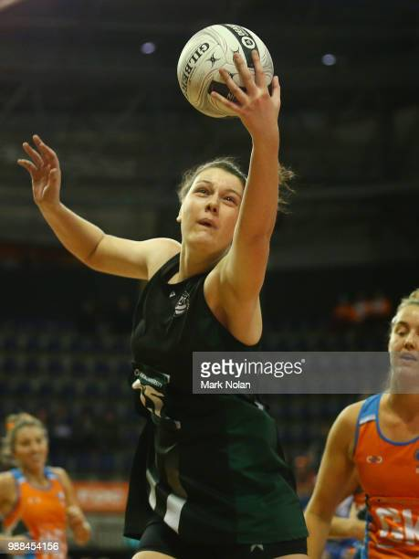Jane Cook of the Magpies in action during the Australian Netball League grand final between the Tasmanian Magpies and the Canberra Giants at AIS...