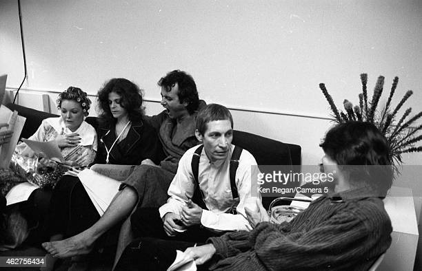Jane Curtain Gilda Radner Bill Murray and Charlie Watts of the Rolling Stones are photographed on the set of Saturday Night Live in October 1978 in...