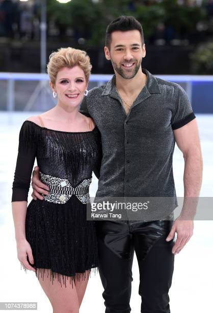Jane Danson and Sylvain Longchambon attend a photocall for the new series of Dancing On Ice at Natural History Museum Ice Rink on December 18 2018 in...