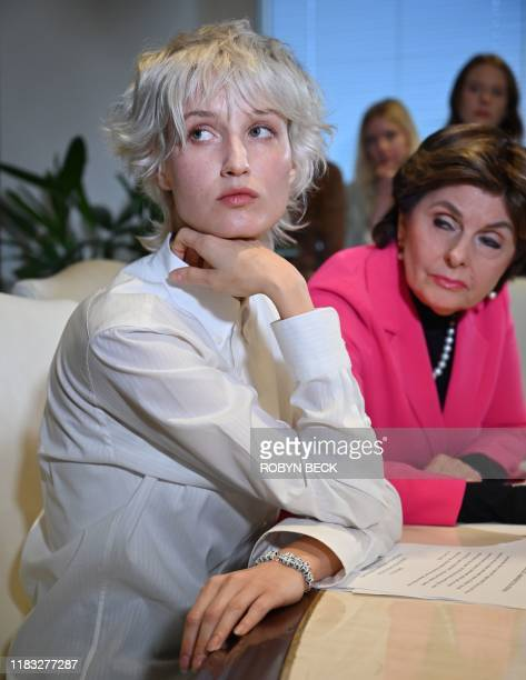 'Jane Doe 15' who accuses the late financier Jeffrey Epstein of sexually abusing her when she was fifteen years old holds a press conference at the...