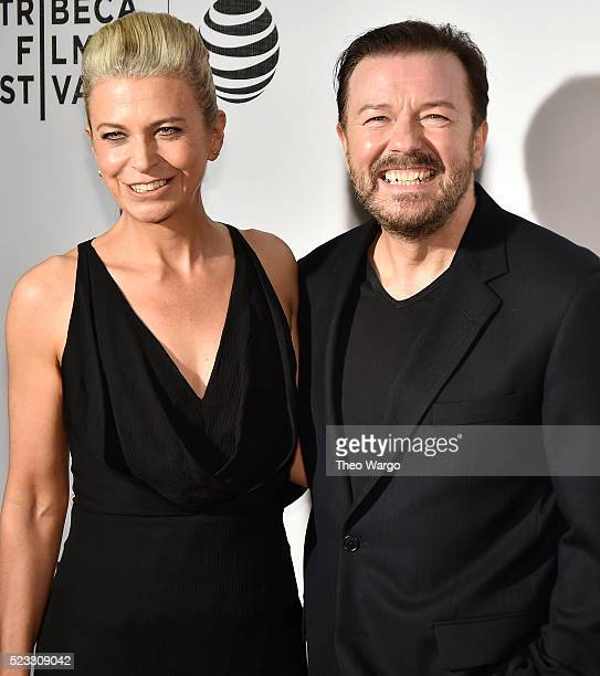 Jane Fallon and director and writer Ricky Gervais attends the premiere Special Correspondents during the 2016 Tribeca Film Festival at BMCC John...
