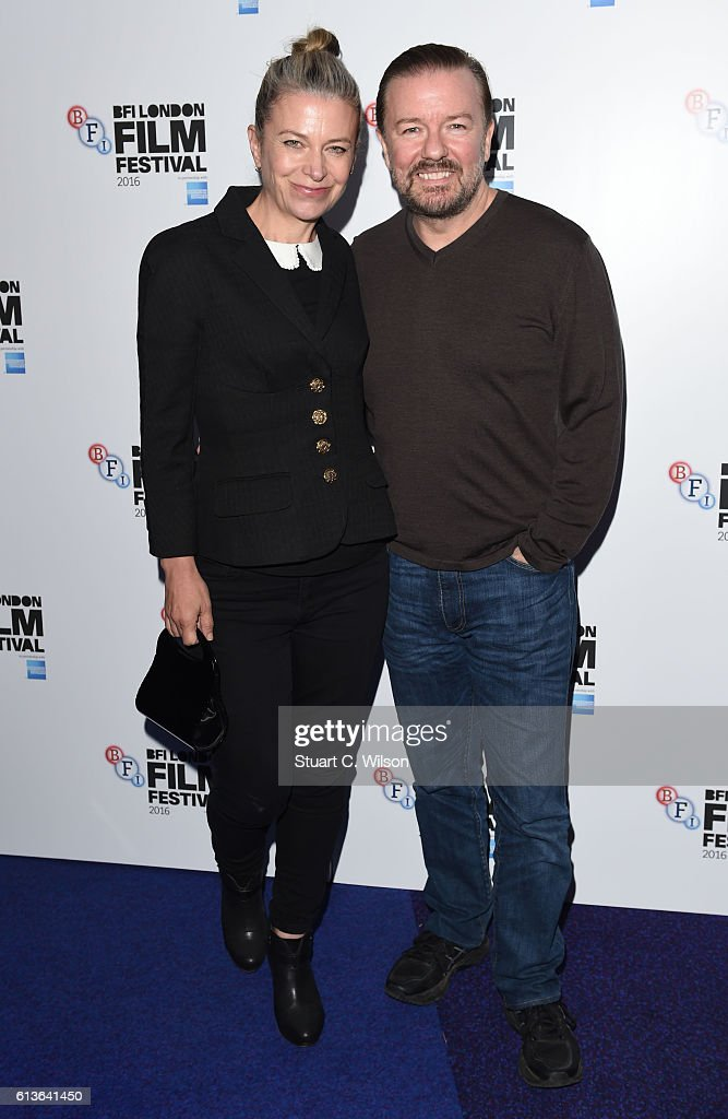 Jane Fallon and Ricky Gervais attend the Mascots screening during the 60th BFI London Film Festival at Picturehouse Central on October 9, 2016 in London, England.