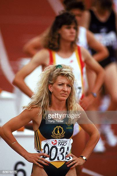 Jane Flemming of Australia looks on before the 200m final discipline of the Women's Heptathlon during the 1990 Commonwealth Games held in Auckland,...