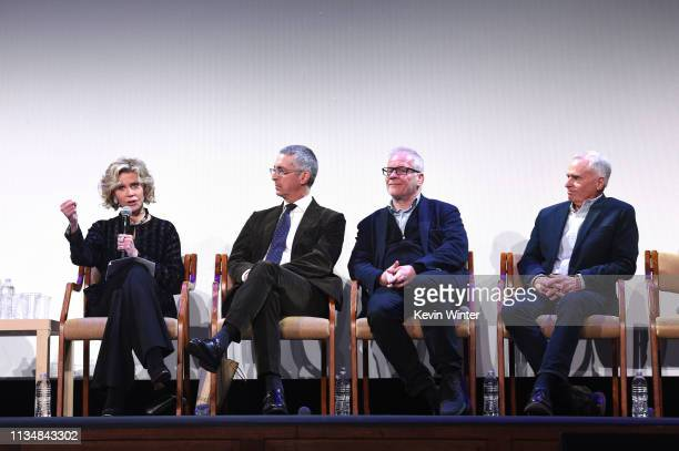 Jane Fonda Alexander Payne Thierry Fremaux and Grover Crisp appear onstage at the HFPA Film Restortion Summit The Global Effort to Preserve Our Film...