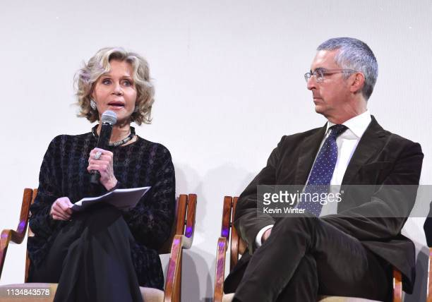 Jane Fonda and Alexander Payne appear onstage at the HFPA Film Restortion Summit The Global Effort to Preserve Our Film Heritage at The Theatre at...