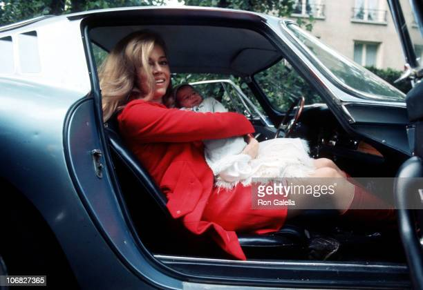 Jane Fonda and baby daughter Vanessa Vadim during Jane Fonda and Roger Vadim Depart from the Belvedere Hospital in Paris with Their New Baby Vanessa...