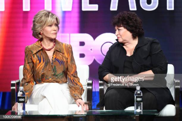 Jane Fonda and director/producer Susan Lacy of 'Jane Fonda in Five Acts' speak onstage during the HBO portion of the Summer 2018 TCA Press Tour at...