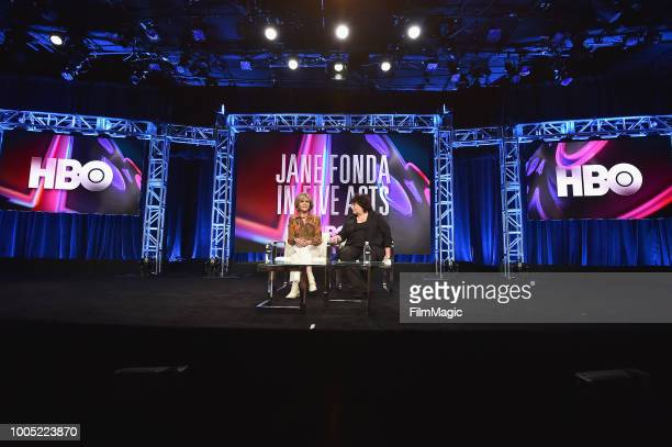 Jane Fonda and director/producer Susan Lacy speak onstage at HBO Summer TCA 2018 at The Beverly Hilton Hotel on July 25 2018 in Beverly Hills...