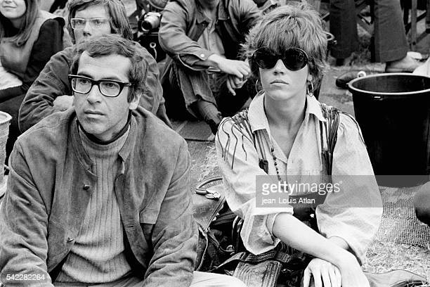 Jane Fonda and her husband Roger Vadim at the International Pop and Rock Festival of the Isle of Wight