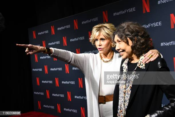 "Jane Fonda and Lily Tomlin at FYC Event For Netflix's ""Grace And Frankie"" at Raleigh Studios on May 18, 2019 in Los Angeles, California."