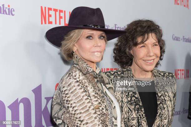 Jane Fonda and Lily Tomlin attend Premiere Of Netflix's 'Grace And Frankie' Season 4 Red Carpet at ArcLight Cinemas on January 18 2018 in Culver City...