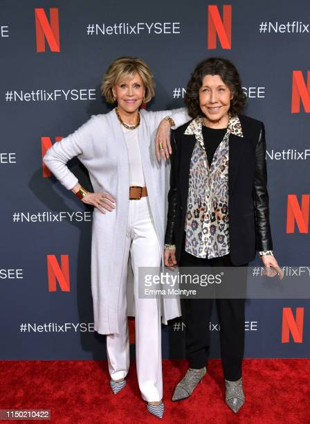 Jane Fonda and Lily Tomlin attend the Netflix FYSEE Grace and Frankie ATAS Official Red Carpet and Panel at Raleigh Studios on May 18 2019 in Los...