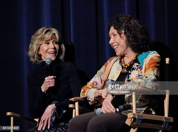 Jane Fonda and Lily Tomlin attend the SAGAFTRA Foundation Conversations with 'Grace And Frankie' at SAGAFTRA Foundation on June 17 2016 in Los...