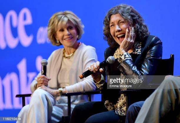 Jane Fonda and Lily Tomlin speak onstage at the Netflix FYSEE Grace and Frankie ATAS Official Red Carpet and Panel at Raleigh Studios on May 18 2019...