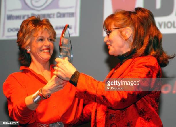 Jane Fonda and Margot Kidder during VDAY Atlanta 2004 at The CocaCola Roxy Theatre in Atlanta Georgia United States
