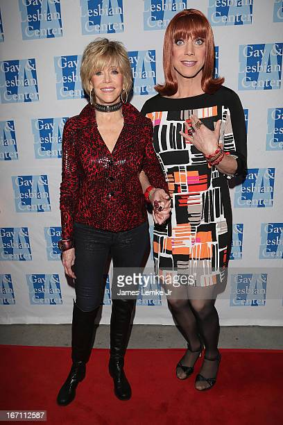 Jane Fonda and Miss Coco Peru attend The L.A. Gay & Lesbian Center's Lily Tomlin/Jane Wagner Cultural Arts Center Presents Conversations With Coco...